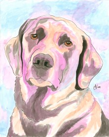 Black Labrador Watercolor and Ink