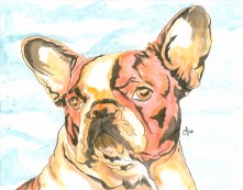 French Bulldog Watercolor and Ink