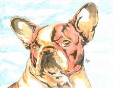 French Bulldog Watercolor and Ink