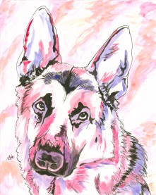 German Shepherd Watercolor and Ink